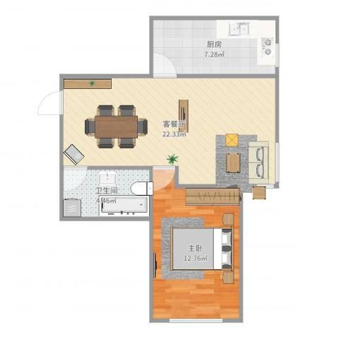 上东城市之光1室2厅1卫1厨59.00㎡户型图