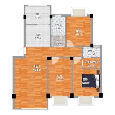 香榭丽都3室1厅2卫1厨104.00㎡户型图