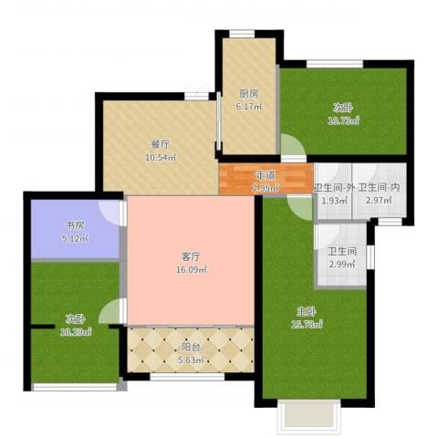南博湾花园4室2厅1卫1厨114.00㎡户型图