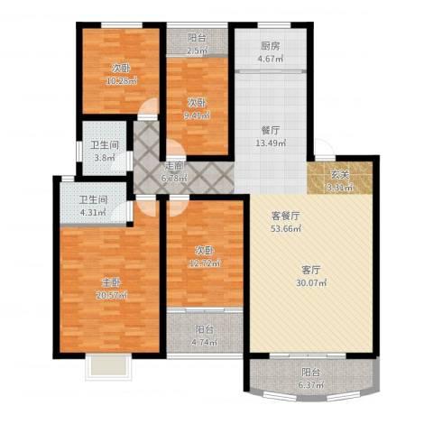 湖滨公寓4室2厅2卫1厨166.00㎡户型图
