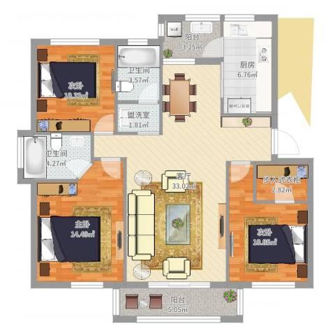塞纳丽景3室3厅2卫1厨120.00㎡户型图