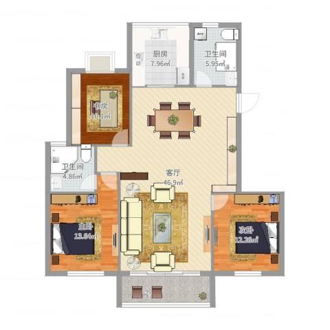引凤花园3室1厅2卫1厨134.00㎡户型图