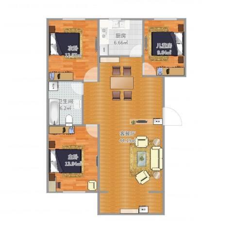 富力城3室2厅1卫1厨117.00㎡户型图