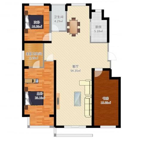 国盛南域枫景3室1厅1卫1厨143.00㎡户型图