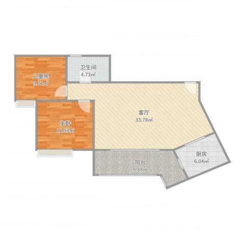 竹园阳光嘉苑2室1厅1卫1厨95.00㎡户型图