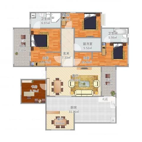 阳光海岸4室3厅2卫1厨205.00㎡户型图