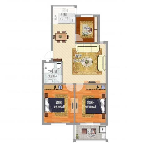 福明家园3室1厅1卫1厨86.00㎡户型图