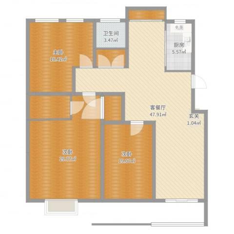 大地家园3室2厅1卫1厨166.00㎡户型图