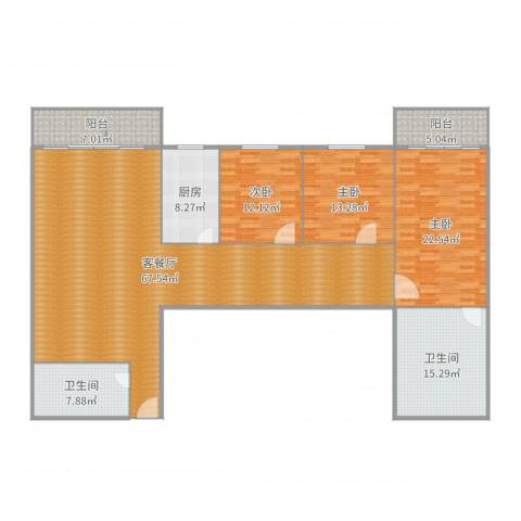 鑫龙大厦3室2厅2卫1厨199.00㎡户型图