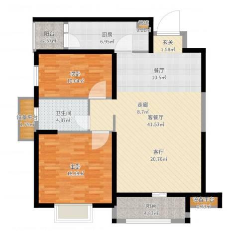 华强城・卡塞雷斯2室2厅1卫1厨112.00㎡户型图
