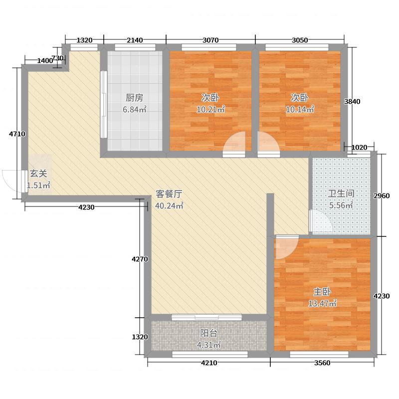 皇城新区113.47㎡户型3室3厅1卫1厨