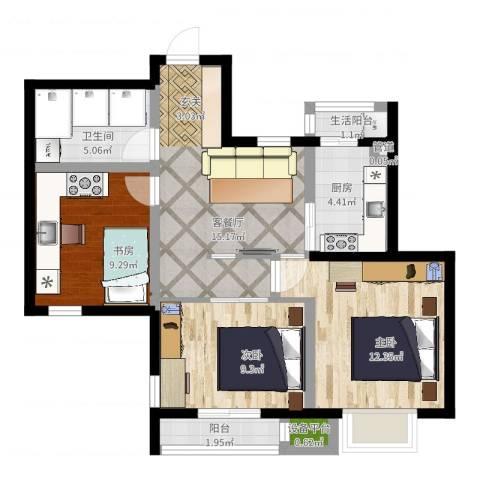 百合阳光3室2厅1卫1厨74.00㎡户型图