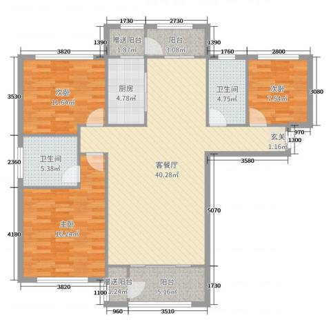 鼎秀华城3室2厅2卫1厨101.96㎡户型图
