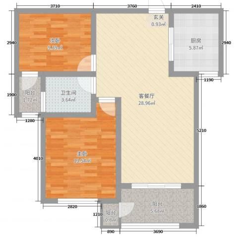 鼎秀华城2室2厅1卫1厨69.60㎡户型图