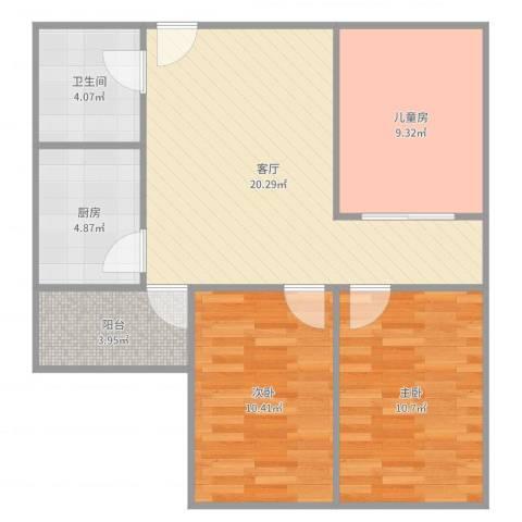 六铺炕三区3室1厅1卫1厨80.00㎡户型图