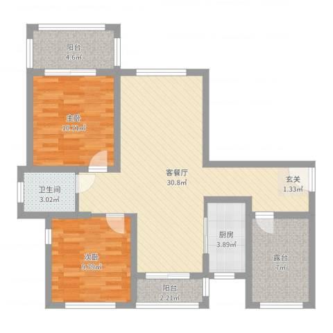 国润溪香米兰2室2厅1卫1厨90.00㎡户型图