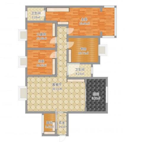 沁园小区4室2厅2卫1厨144.00㎡户型图