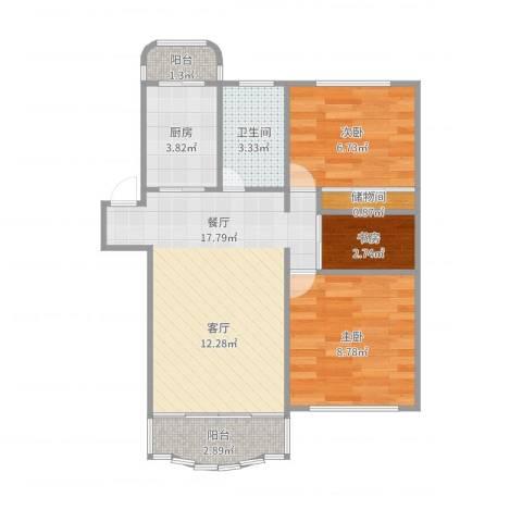 华高苑复式3室1厅1卫1厨60.00㎡户型图