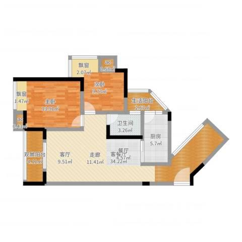 大众尚岭花园2室2厅1卫1厨93.00㎡户型图
