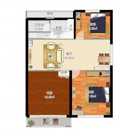 静安花园3室1厅2卫1厨107.00㎡户型图
