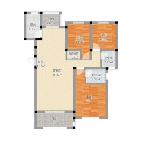 水岸明珠3室2厅2卫1厨108.00㎡户型图