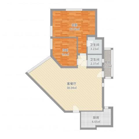 龙珠公寓2室2厅2卫1厨100.00㎡户型图