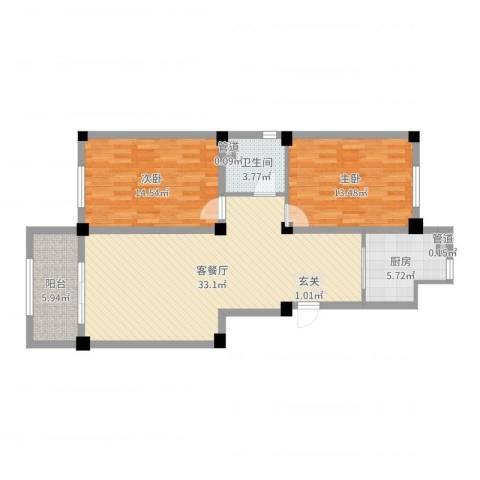 宏业・都市华庭2室2厅1卫1厨96.00㎡户型图