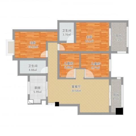 天景名城10-2-7024室2厅2卫1厨125.00㎡户型图