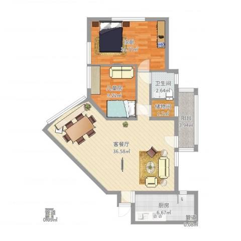 龙珠公寓2室2厅1卫1厨95.00㎡户型图