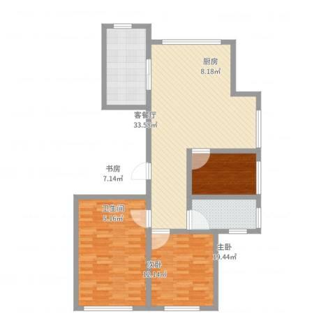 宝华・天泽府3室2厅1卫1厨107.00㎡户型图