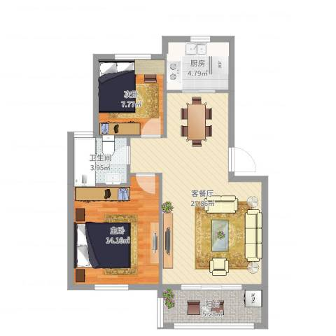 华光城2室2厅1卫1厨80.00㎡户型图