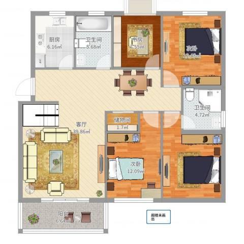 华泰剑桥3室1厅2卫1厨137.00㎡户型图