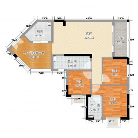 恒洲小苑3室1厅2卫1厨89.00㎡户型图