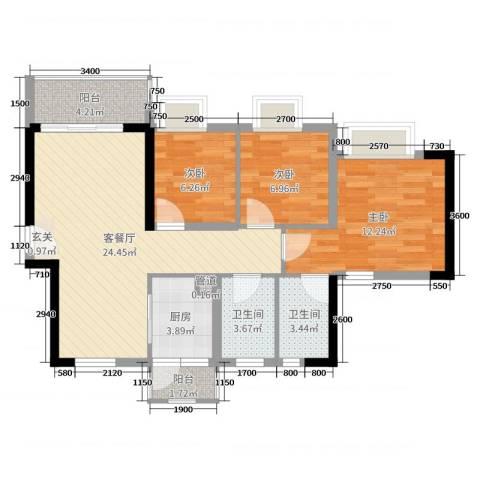 正德天水湖3室2厅2卫1厨92.00㎡户型图