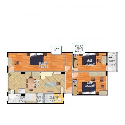 港湾路小区3室1厅1卫1厨122.00㎡户型图