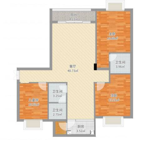 幸福花园3室1厅3卫1厨123.00㎡户型图