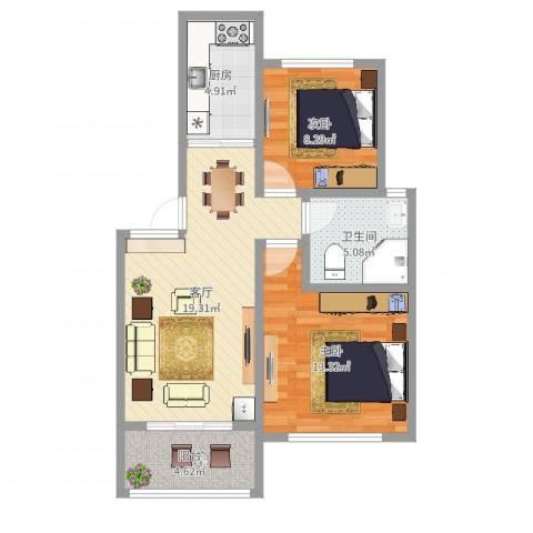 浦江世博家园九街坊2室1厅1卫1厨69.00㎡户型图