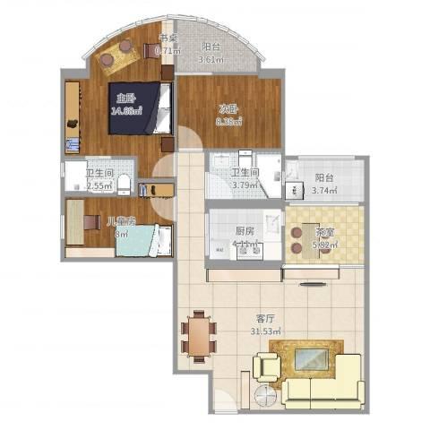 嘉怡苑3室1厅2卫1厨107.00㎡户型图