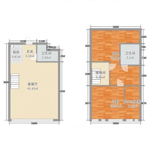 熙晨・空港国际2室2厅2卫0厨98.01㎡户型图