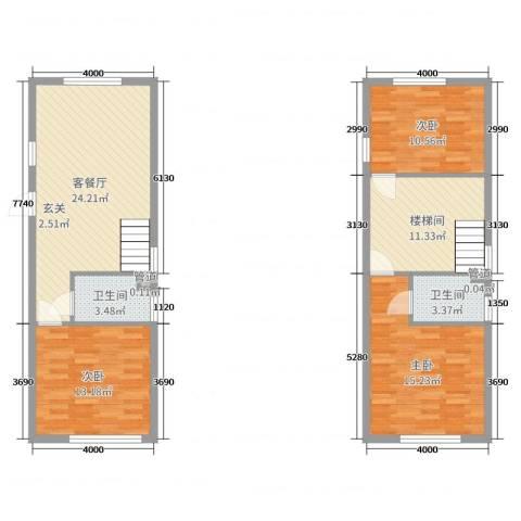 熙晨・空港国际3室2厅2卫0厨81.51㎡户型图