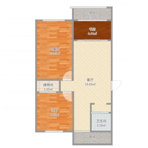 南湖新村3室1厅1卫1厨69.00㎡户型图