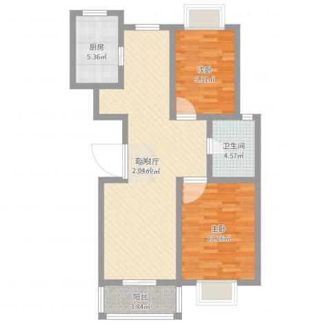御水天成2室2厅1卫1厨84.00㎡户型图