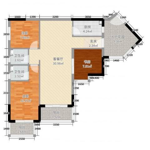 恒洲小苑3室2厅2卫1厨104.00㎡户型图