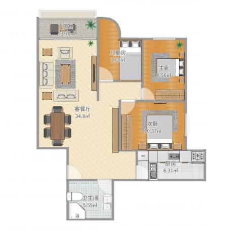 五州大厦3室2厅1卫1厨96.00㎡户型图