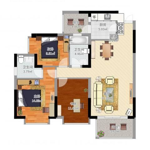 华美美立方3室1厅2卫1厨126.00㎡户型图