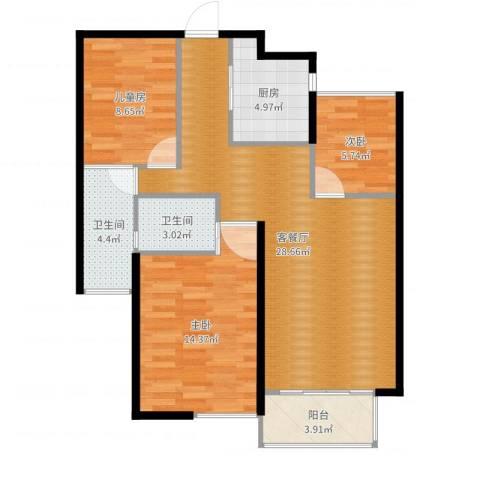 绿地望海新都(绿地领御)3室2厅2卫1厨73.72㎡户型图