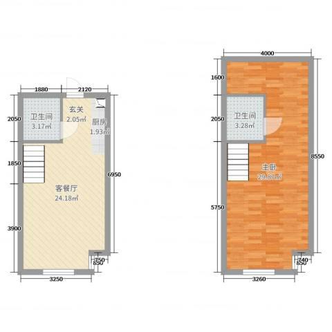 熙晨・空港国际1室2厅2卫0厨60.49㎡户型图