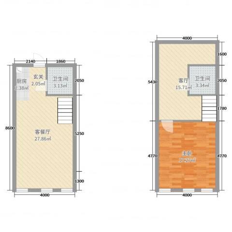 熙晨・空港国际1室3厅2卫0厨67.32㎡户型图