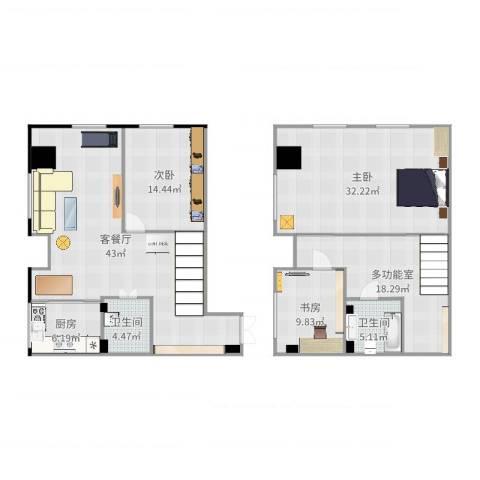 宝能青春汇3室2厅2卫1厨167.00㎡户型图