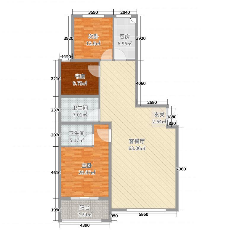 鲁信花园二期166.52㎡3#楼标准层B户型3室3厅2卫1厨